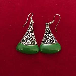 Jewelry - Green and Silver Dangle Earrings
